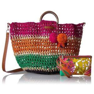 Trina Turk Beach Tote Straw handbag pool bag